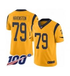 Men's Los Angeles Rams #79 Rob Havenstein Limited Gold Rush Vapor Untouchable 100th Season Football Jersey