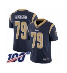 Men's Los Angeles Rams #79 Rob Havenstein Navy Blue Team Color Vapor Untouchable Limited Player 100th Season Football Jersey