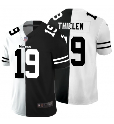 Men's Minnesota Vikings #19 Adam Thielen Black White Limited Split Fashion Football Jersey