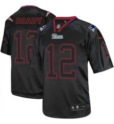 Men's Nike New England Patriots #12 Tom Brady Elite Lights Out Black NFL Jersey