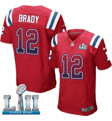 Men's Nike New England Patriots #12 Tom Brady Elite Red Alternate Drift Fashion Super Bowl LII NFL Jersey