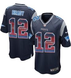 Men's Nike New England Patriots #12 Tom Brady Limited Navy Blue Strobe NFL Jersey
