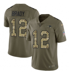Men's Nike New England Patriots #12 Tom Brady Limited Olive/Camo 2017 Salute to Service NFL Jersey