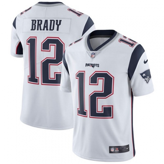 Men's Nike New England Patriots #12 Tom Brady White Vapor Untouchable Limited Player NFL Jersey