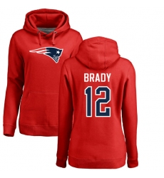 NFL Women's Nike New England Patriots #12 Tom Brady Red Name & Number Logo Pullover Hoodie