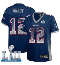 Women's Nike New England Patriots #12 Tom Brady Elite Navy Blue Drift Fashion Super Bowl LII NFL Jersey