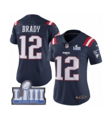 Women's Nike New England Patriots #12 Tom Brady Limited Navy Blue Rush Vapor Untouchable Super Bowl LIII Bound NFL Jersey
