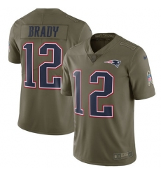 Youth Nike New England Patriots #12 Tom Brady Limited Olive 2017 Salute to Service NFL Jersey