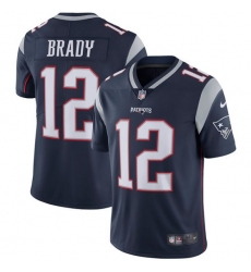 Youth Nike New England Patriots #12 Tom Brady Navy Blue Team Color Vapor Untouchable Limited Player NFL Jersey