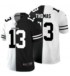 Men's New Orleans Saints #13 Michael Thomas Black White Limited Split Fashion Football Jersey