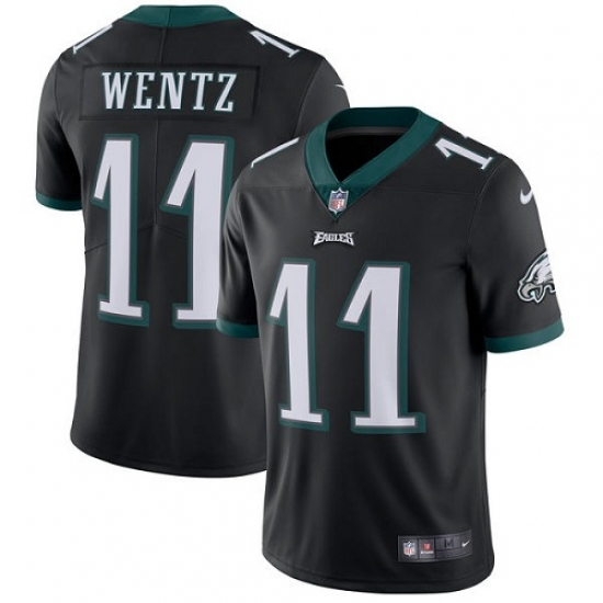 Men's Nike Philadelphia Eagles #11 Carson Wentz Black Alternate Vapor Untouchable Limited Player NFL Jersey