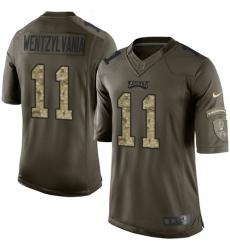 Men's Nike Philadelphia Eagles #11 Carson Wentz Elite Green Salute to Service Wentzylvania NFL Jersey
