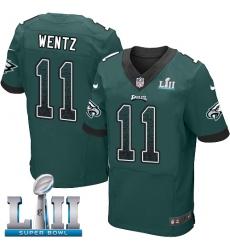 Men's Nike Philadelphia Eagles #11 Carson Wentz Elite Midnight Green Home Drift Fashion Super Bowl LII NFL Jersey