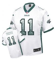 Men's Nike Philadelphia Eagles #11 Carson Wentz Elite White Drift Fashion NFL Jersey