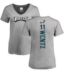 Women's Nike Philadelphia Eagles #11 Carson Wentz Ash Backer V-Neck T-Shirt