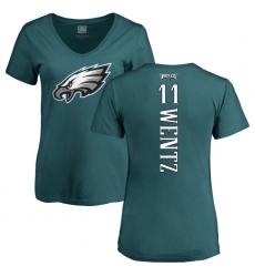 Women's Nike Philadelphia Eagles #11 Carson Wentz Green Backer Slim Fit T-Shirt
