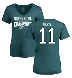 Women's Nike Philadelphia Eagles #11 Carson Wentz Green Super Bowl LII Champions V-Neck T-Shirt