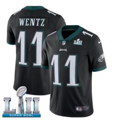 Youth Nike Philadelphia Eagles #11 Carson Wentz Black Alternate Vapor Untouchable Limited Player Super Bowl LII NFL Jersey