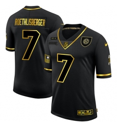 Men's Pittsburgh Steelers #7 Ben Roethlisberger Olive Gold Nike 2020 Salute To Service Limited Jersey