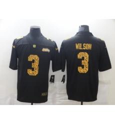 Men's Seattle Seahawks #3 Russell Wilson Black Nike Leopard Print Limited Jersey