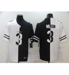 Men's Seattle Seahawks #3 Russell Wilson Black White Limited Split Fashion Football Jersey