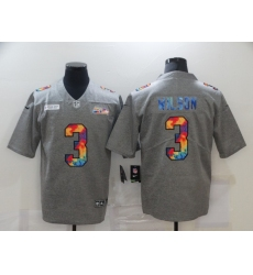 Men's Seattle Seahawks #3 Russell Wilson Gray Rainbow Version Nike Limited Jersey