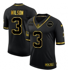 Men's Seattle Seahawks #3 Russell Wilson Olive Gold Nike 2020 Salute To Service Limited Jersey