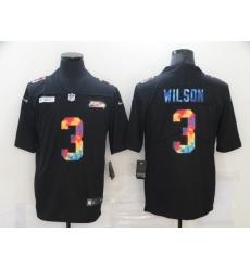 Men's Seattle Seahawks #3 Russell Wilson Rainbow Version Nike Limited Jersey