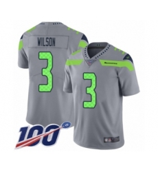 Youth Seattle Seahawks #3 Russell Wilson Limited Silver Inverted Legend 100th Season Football Jersey