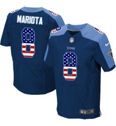 Men's Nike Tennessee Titans #8 Marcus Mariota Elite Navy Blue Alternate USA Flag Fashion NFL Jersey