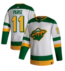 Men's Minnesota Wild #11 Zach Parise adidas White 2020-21 Reverse Retro Authentic Player Jersey