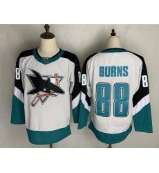 Men's San Jose Sharks #88 Brent Burns Authentic White Away Jersey