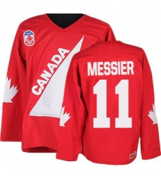 Men's CCM Team Canada #11 Mark Messier Premier Red 1991 Throwback Olympic Hockey Jersey