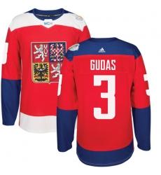 Men's Adidas Team Czech Republic #3 Radko Gudas Premier Red Away 2016 World Cup of Hockey Jersey