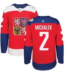 Men's Adidas Team Czech Republic #2 Zbynek Michalek Authentic Red Away 2016 World Cup of Hockey Jersey