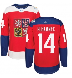 Men's Adidas Team Czech Republic #14 Tomas Plekanec Authentic Red Away 2016 World Cup of Hockey Jersey