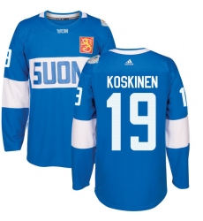 Men's Adidas Team Finland #19 Mikko Koskinen Premier Blue Away 2016 World Cup of Hockey Jersey