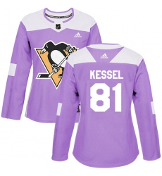Women's Adidas Pittsburgh Penguins #81 Phil Kessel Authentic Purple Fights Cancer Practice NHL Jersey