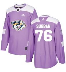 Men's Adidas Nashville Predators #76 P.K Subban Authentic Purple Fights Cancer Practice NHL Jersey