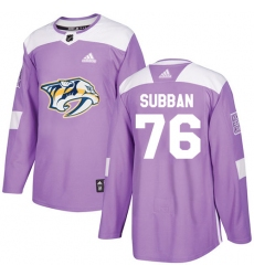 Youth Adidas Nashville Predators #76 P.K Subban Authentic Purple Fights Cancer Practice NHL Jersey
