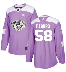 Youth Adidas Nashville Predators #58 Dante Fabbro Authentic Purple Fights Cancer Practice NHL Jersey