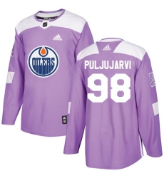 Men's Adidas Edmonton Oilers #98 Jesse Puljujarvi Authentic Purple Fights Cancer Practice NHL Jersey