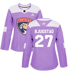 Women's Adidas Florida Panthers #27 Nick Bjugstad Authentic Purple Fights Cancer Practice NHL Jersey