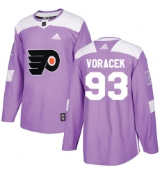 Men's Adidas Philadelphia Flyers #93 Jakub Voracek Authentic Purple Fights Cancer Practice NHL Jersey