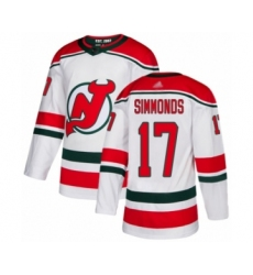 Men's New Jersey Devils #17 Wayne Simmonds Authentic White Alternate Hockey Jersey
