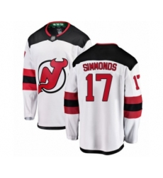 Men's New Jersey Devils #17 Wayne Simmonds Fanatics Branded White Away Breakaway Hockey Jersey