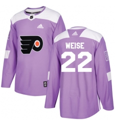 Men's Adidas Philadelphia Flyers #22 Dale Weise Authentic Purple Fights Cancer Practice NHL Jersey