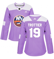 Women's Adidas New York Islanders #19 Bryan Trottier Authentic Purple Fights Cancer Practice NHL Jersey