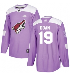 Men's Adidas Arizona Coyotes #19 Shane Doan Authentic Purple Fights Cancer Practice NHL Jersey