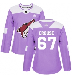 Women's Adidas Arizona Coyotes #67 Lawson Crouse Authentic Purple Fights Cancer Practice NHL Jersey
